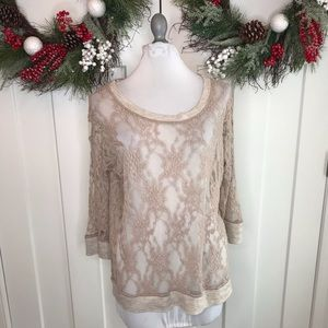 Anthro E by Eloise tan sheer lace top Large 10i